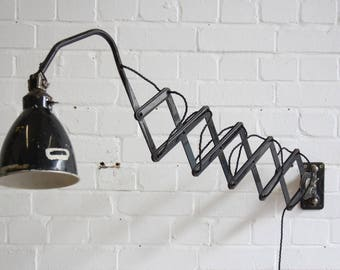 Large Wall Mounted Industrial Scissor Lamp By AGI Circa 1930's