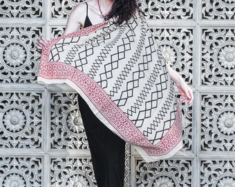 Coton shawl with block printed tribal ornaments
