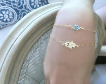 Cz Hamsa Bracelet with Aquamarine Birthstone Hand Bracelet Hamsa jewelry 14k gold filled Layered bracelet Swarovski birthstone Personalized