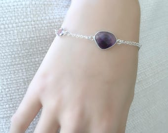 personalized amethyst bracelet amethyst jewelry swarovski birthstone bracelet birthstone jewelry 925 sterling silver custom initial february