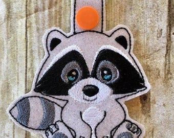 Raccoon - In The Hoop - Snap/Rivet Key Fob - DIGITAL EMBROIDERY Design