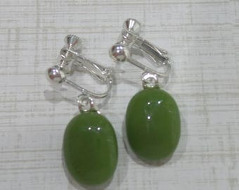 Olive Green Clip On Earrings, Dangle Clip on Earrings, Olive Green Jewelry, Fused Glass Jewelry - Teela -7