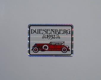 80s Prism Sticker 1932 Duesenberg Vending Decal holographic metallic foil reflective antique car automobile lover gift hipster 30s 40s