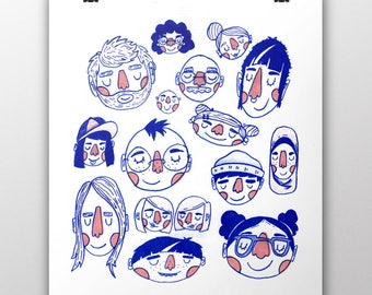Faces Risograph Art Print