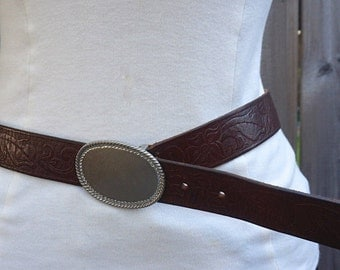 "Vintage Brown Tooled Leather Belt, Abercrombie & Fitch Size L 30""-34"", Oval Buckle, Gender Neutral Accessories, Made In USA"