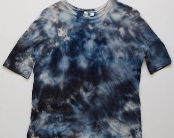 XS Blue Watercolor Drop Shoulder T-Shirt