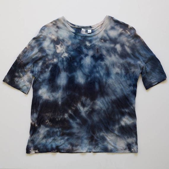 XS Blue Watercolor Drop Shoulder T-Shirt