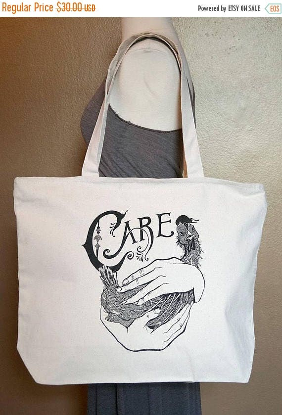 """ON SALE Zippered Tote Bag """"Care"""" Black Ink on Natural Cotton"""