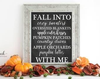 Fall Decor, Fall Sign, Fall Wall Art, Fall Wall Decor, Fall Print, Digital Fall Sign, Fall In Love, Chalkboard Sign, Rustic Home Decor 11x14