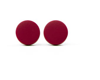 Round Matte Studs, Post Earrings, Studs, Dainty Earrings, Jewelry, Clay Studs, Clay, For Her, Geometric Jewelry, Trendy, Minimalist, Red