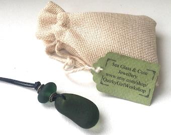 Dark Green sea glass necklace, found beach glass pendant, handmade using black leather cord, ocean boho, hippie Jewelry for men or women,