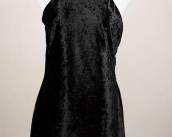 Crushed Black Velvet Halter Dress