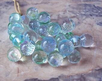 Sparkling Moonstone Drops. Handmade Dichroic Glass Drops (10 pcs). Pale Aqua, Pale Mint-Green Lampwork Drops. Winter Theme Lampwork Beads.