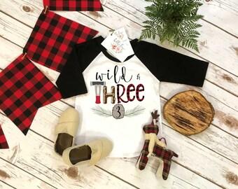 Third Birthday Shirt, Lumberjack Birthday, 3rd Birthday shirt, Buffalo Plaid Party, Lumberjack Party, Woodland Party Set, Camping Birthday