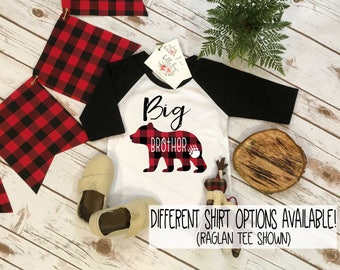Big Brother Shirt, Buffalo Plaid Bear, Brothers Shirts, Big Brother Bear Shirt, Buffalo Plaid Shirt, Family tees, Big Brother Reveal,Brother