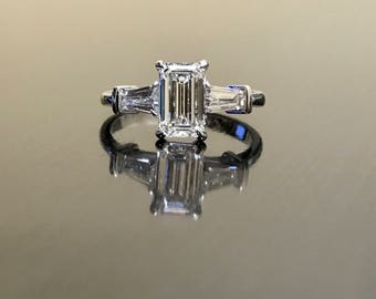 Emerald Cut Diamond Engagement Ring - Art Deco 18K White Gold Diamond Wedding Ring - Emerald Cut Three Stone Diamond Ring - 18K Diamond Ring