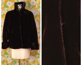 40s 50s Vintage Mouton Coat Large XL