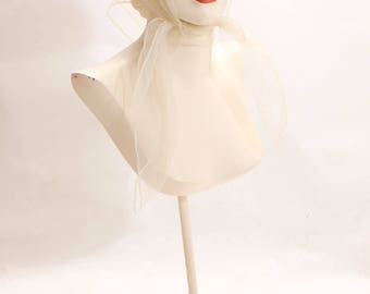 1950s White Sheer Nylon Hair Scarf