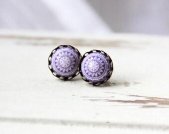 Lilac mosaic earrings, 10 mm, bronze stud earrings, purple stud earrings, vintage earrings