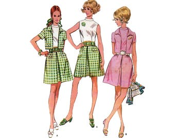 Dress in Two Versions and Jacket, Women's Sewing Pattern Misses Size 14 Bust 36 Vintage 1960's McCall's 9579