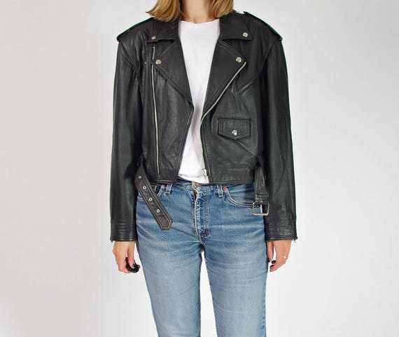 80s Yessica motorcycle leather jacket / size 38 (M/L)