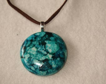 20% SALE  Speckled Blue and Teal Circle Pendant & Necklace - Alcohol Ink Colors