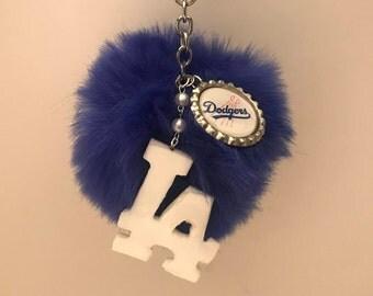 LA Dodgers Pom Pom Keychain