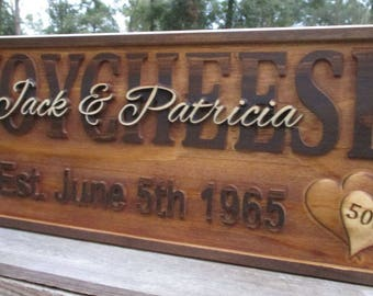50th Anniversary Gift for Parents  Established Sign Last Name Plaques Wood Carved Personalized Couple Gifts Rustic Personalized Family Name