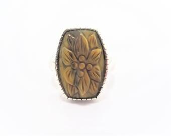 Vintage Sterling Carved Tigereye Ring Size 11