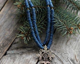 Original Blue Ethnic Necklace - Ukrainian Cross Necklace for woman - Ethnic jewelry - Multi strand necklace