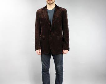 Brown Corduroy Men's Vintage Preppy Casual Velvet Formal Jacket . 80s Bohemian Formal Sack Blazer, Casual Boyfriend Velvet Trench Coat Sz L