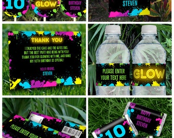 Neon Glow Party Invitations & Decorations for boys (Yellow) - INSTANT DOWNLOAD - Glow in the Dark Party - Edit and Print using Adobe Reader
