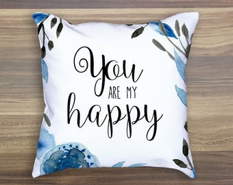 You Are My Happy Blue Watercolor Tote Bag Floral Totebag Floral Tote Bag Blue Tote Bag Blue Totebag Watercolor Tote Bag