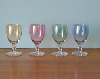 Vintage four harlequin shot glasses alcohol