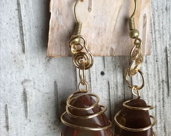 Wire Wrapped caged Lake Superior Agate Earrings