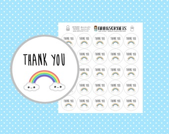 25 Kawaii Rainbow Thank You Stickers Purchase Order Mailing Business Stickers Packaging Labels Kawaii Stickers UK Seller