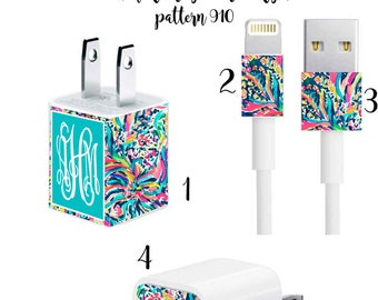 Iphone Charger Wrap, Monogram Iphone charger decal in Pattern 910