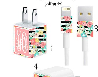 Iphone Charger Wrap, Monogram Iphone charger decal in Pattern 486