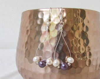 Purple pearl earrings, freshwater pearl bridesmaids earrings, sterling silver earrings long earrings, bridesmaids jewelry handmade in the UK