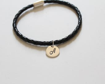 Leather Bracelet with Sterling Silver Cursive A Letter Charm, Bracelet with Silver Letter A Pendant, Initial A Charm Bracelet, A Bracelet