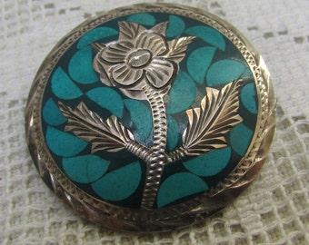 Vintage  Mexican sterling silver inlaid faux turquoise and engraved  flower brooch pin pendant 60's signed