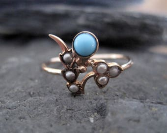 Victorian Turquoise and Pearl Flower Ring in 10k Yellow Gold - JL910
