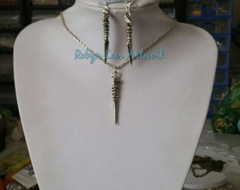 Silver Dragon Athame Dagger Sword Charm Necklace and/or Earrings Set on Silver Chain, Earring Hooks or Leverbacks