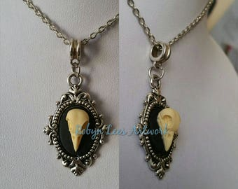 Small 3D Resin Raven Crow Bird Skull Cabochon Necklace in Silver Victorian Style Frame on Silver Chain or Black Faux Suede Cord