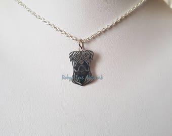 Small Stainless Steel Boxer Dog Charm Necklace on Silver Crossed Chain or Black Faux Suede Cord. Pets, Puppy, Animals, Family