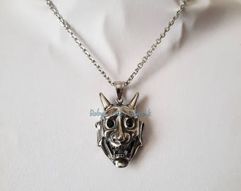 Large Stainless Steel Devil Face Skull Pendant Necklace with Black Glass Crystal Stone Eyes on Stainless Steel Chain