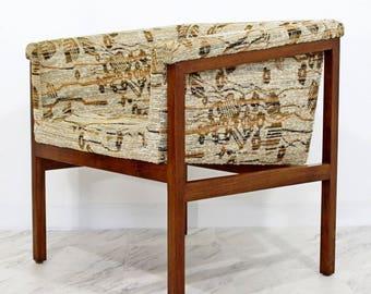 Mid Century Modern Dunbar Wood Framed Cube Lounge Chair