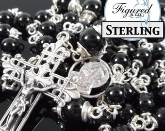 Catholic Rosary - Schorl Rosary in Sterling SIlver Catholic Chain Rosary - Black Catholic Rosary Beads