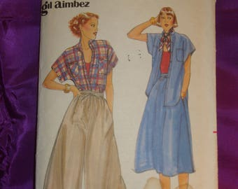 1970s 70s Vintage GIL AIMBEZ Short Sleeve Shirt Culottes or Front Gathered Skirt COMPLETE Butterick Pattern 5389 Bust 34 Inches 87 Metric