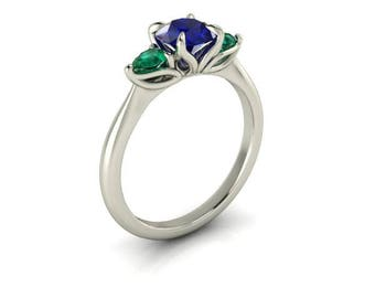 Blue Sapphire and Emerald Mother's Ring, Sapphire and Diamonds Engagement Ring, 6mm Round Cut Sapphire, Chatham Sapphire, Ethical Diamonds